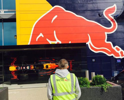 Recent on site spray painting job to Red Bull HQ